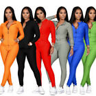 Fashion Women Long Sleeve Pockets Zipper Coat Solid Color Casual Outfits 2pcs