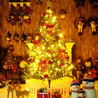 4/5/6 Ft Artificial Christmas Tree,metal Base With 10m 100 Led Warm Light,remote