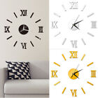 Modern Wall Clock 3D Mirror Sticker Quartz Needle Number Watch DIY Decor