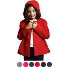 Girl's Fleece Double Breasted Button Polyester Solid Winter Hooded Coat Jacket
