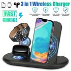 3 in 1 Qi Wireless Fast Charger Dock Charging Station for Samsung iPhone Air Pod