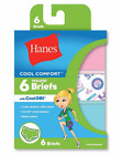 """Hanes  Girls' Cool Comfort  Briefs with Cool Dri  6-Pack """"ALL SIZE"""" NEW"""