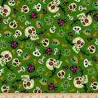 Unit Of 10 Yard Skull Day Of Halloween Printed Cotton Poplin Fabric By The Yard