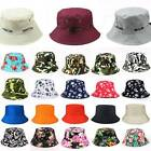 Men Women Floral Camo Bucket Boonie Hat Fishing Summer Outdoor Sun Beach Caps