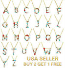 26 Multi-color Crystal Capital Initial Letters Necklace Chain Pendant Love