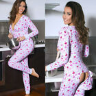 Women Ladies Printed V Neck Bodycon Pajamas Jumpsuit Romper Long Sleeve Bodysuit