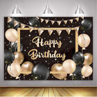 Happy Birthday Backdrop Retro Gold Balloons Banner for Birthday Party Decoration