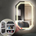 Wall Mounted Jewellery Mirror Cabinet with LED Light Makeup Bedroom Storage UK