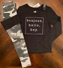 NWT Justice Girls Lettuce Edge LS Graphic Tee & Camo Leggings Outfit! Size 7!