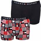 Tommy Hilfiger 2-Pack Stars & Flags Print Boys Boxer Trunks, Red/Navy