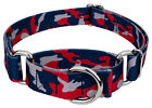 Country Brook Petz® Navy Blue and Red Camo Martingale Dog Collar