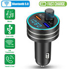 Bluetooth FM Transmitter Wireless Radio Adapter Car Kit Mp3 QC3.0 2 USB Charger