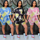 Fashion Women's Outfits Short Sleeve T-shirt Tie-dyed Print Short Pants Set 2pcs