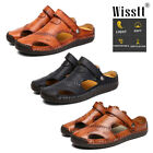 Mens Leather Sandals Closed Toe Flip Flops Summer Casual Fisherman Slippers Size