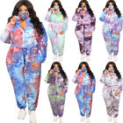 Plus Size Women Long Sleeve Zipper Tie-dyed Print Casual Pants Set with Mask 3pc
