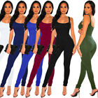 Women Sleeveless Backless Solid Color Casual Club Party Sports Bodycon Jumpsuit