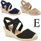 Ladies Wedge Sandals Cushion Foam Espadrille Summer Platform Party Strappy Shoes