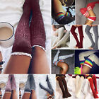 Ladies Crochet Knit Over The Knee Thigh High Boot Socks Stockings Leg Warmers