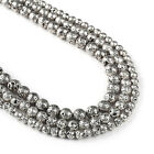 """Antique Silver Lava Beads 6 8 10mm Volcanic Rock Round Bead 15"""" Full Strand"""