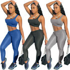 Women Sloping Shoulder Sleeveless Crop Top Solid Color Bodycon Jumpsuit 2pcs