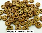 Pkg of 20 BROWN 4-hole Wooden Ring Buttons - Choose Size 10, 12, or 15mm