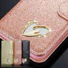 Samsung Phone Case S9 S10 A10 Sparkly Diamond Heart Magnetic Flip Leather Wallet