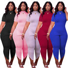 Women Fashion Short Sleeve Solid Color Beaded Casual Bodycon Jumpsuit 2pcs