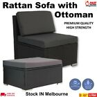 Rattan Outdoor Furniture Middle Sofa With Ottoman Patio Wicker Lounge Garden Set