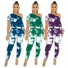 New Fashion Women's Boat Neck Short Sleeve Printed Casual Long Outfits 3pcs