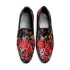 Fashion Men Flowers Embroidery Slip On Loafers Youth Vintage Party Leather Y1145