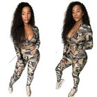 Fashion Women Long Sleeve Zipper Camouflage Print Patchwork Bodycon Outfits 2pcs