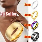 2/4/6/8mm Stainless Steel High Polished Wedding Band Comfort Ring Men Women