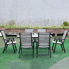Garden Furniture Set Glass Table With 4/6 Folding Chairs Outdoor Parasol Tables