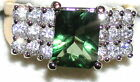 Woman's Genuine Green Envy & White Topaz Ring 54509