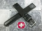 New Wenger Swiss Army Black Leather Strap Nylon Watch Band BK 20mm 19mm 18mm
