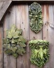 Green man wall plaques set of 3 Celtic pagan foliate frost proof stone ornaments