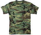 T Shirt Mens Camouflage Woodland Tee Top Military Camo