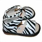 NEW Girls ZEBRA Leather Squeaky SANDALS Shoes size 4-8