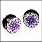 Pair Hindu Design Acrylic EAR PLUGS GAUGES (PICK SIZE) AP-543