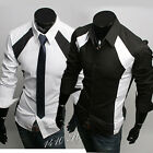 Mens Casual Slim Fit Stylish Patched Dress Shirts 6036