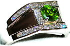 Men's Peridot & Topaz Platinum Overlay Ring  August Birthstone   9w039