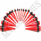 V057 Red Marble Ear Stretchers Tapers Expanders 14 12 10 8 6 4 2 0 00G Gauge Kit