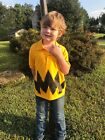 New Childs Cartoon Charlie brown Black Zig Zag BOYS Polo Shirt Halloween Costume