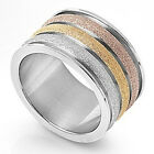 Stainless Steel tri-color diamond cut ring Sz. 6 to 9