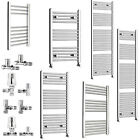 Heated Towel Rail Radiator - Straight Chrome Bathroom Rad Straight Angled Valves