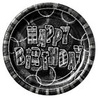 Black Glitz Happy Birthday Party Items Plates Table cover Napkins Banner