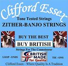 CLIFFORD ESSEX ZITHER-BANJO STRINGS. TONE TESTED. MADE IN GREAT BRITAIN.