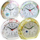 Silent Sweep Alarm Clock Floral Design With Clear Arabic Numbers White Dail