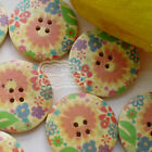 Sunflower 30mm Wood Buttons Sewing Scarpbooking Craft A018