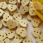 Heart 15mm Wood Buttons Sewing Scrapbooking Craft NCB017